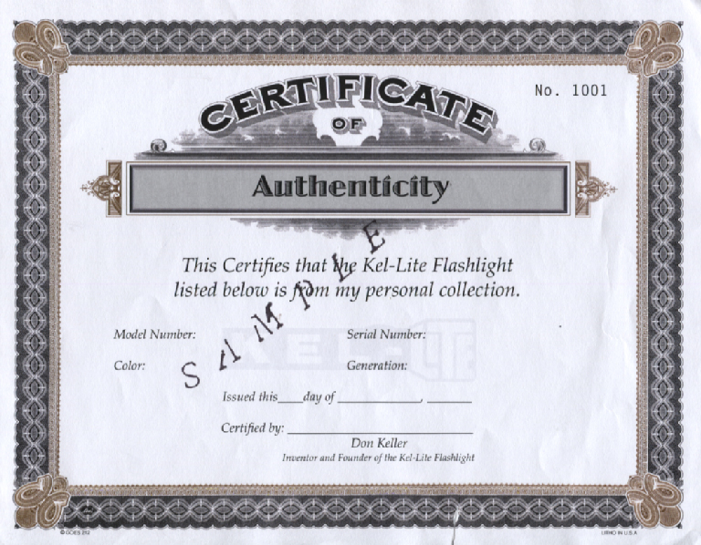 Certificate Of Authenticity  KelLite