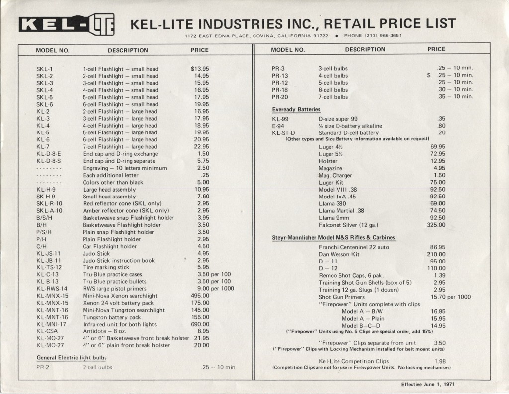 Retail Price List